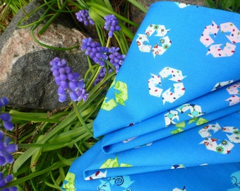 Recycle style Mini-me's -- organic cotton cocktail / picnic napkins  4 pack