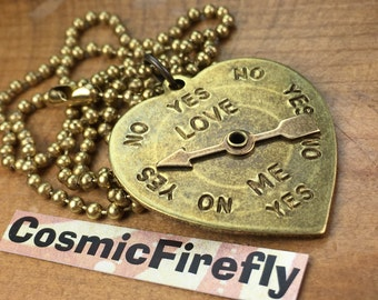 Steampunk Heart Necklace Spinner Love Meter Yes No Brass Or Silver Spin Arrow Really Moves