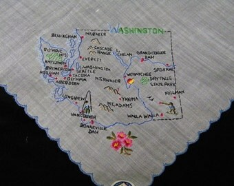 Vintage 1950's Souvenir Embroidered State of Washington  Handkerchief, Hankie, Hanky, 9812