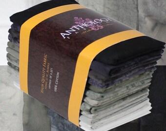 12 Fat Quarter Batik Bundle - Neutrals Gray and Tan blends