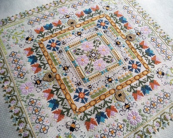 The Bees Knees (Garden Labyrinth Collection) Cross Stitch PDF Pattern, Carolyn Manning Designs