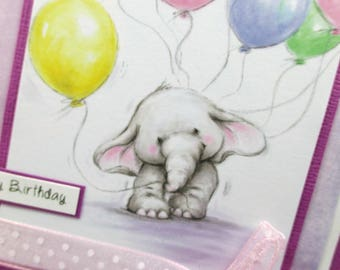 Handmade birthday cards, elephant, birthday card for her, watercolor, girls birthday cards, kids birthday cards, happy birthday cards