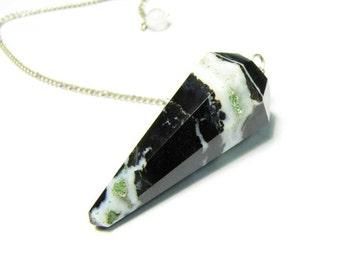 Crystal Quartz Black Agate Point Pendulum Pendant Terminator Pendulum Rock Crystal Divination Sardonyx