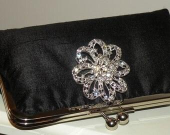 Silk Dupioni Clutch/Purse/Bag..Crystal Brooch..Bridesmaid Gift..Black/White/Ivory/Red/Silver..Hands Free Wrap..Bridal/Wedding..Free Monogram