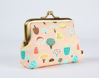 Frame purse - Little mushrooms on pastel pink - Big Aunty / Kawaii japanese fabric / teal green orange brown yellow blue