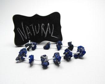 RAW AZURITE NUGGETS 00352b precious gemstone beads unusual free form center drilled multi size blue green unstabilized rough mineral nodules