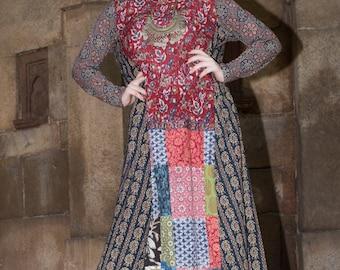 Block print fusion Long sleeves cotton Dress  boho casual comfortable breezy