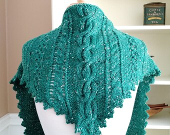 Clover Lace Cabled Shawlette - PDF knitting pattern with crochet trim - Irish knit scarf cowl shawl wrap -  dk or sock yarn