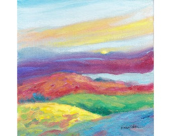 Modern Landscape, Original Painting, Colorful Hills Painting, Water Media Art, Contemporary Art, Small Landscape, Colorful Wall Decor, 6 x 6