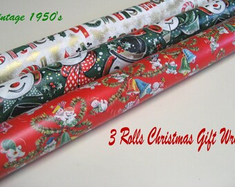 Vintage 1950s-Christmas Gift Wrap Paper-Three Big Rolls-Snowmen-Snow Babies-Gold Gild-20 Inch Wide-100 Inches Long-Vibrant-Rich Colors-Rare