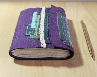 Purple Felt Embroidered Journal with grey suede.  Hand Embroidery, hand decorated.