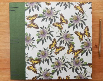 Botanical Wedding Album - Butterflies and Passionflower Album for Wedding or Anniversary - Emerald, Purple and Golden Yellow