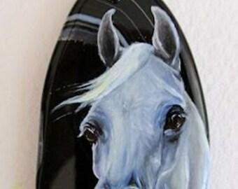 White Gray Arabian Horse Art Pendant Necklace Hand Painted Black Agate