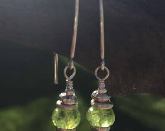 Peridot Gemstone Earrings- Long Earrings- August Birthstone- Lime Green