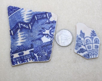 BOGO SALE Buy one get one free Two Beautiful Blue Pottery Shards zy 300