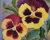 Still Life Painting,RESERVED FOR CP,Yellow And Red Purples,Small Original Oil Painting By Cheri Wollenberg