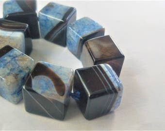 Stunning blue agate cubes 14mm square