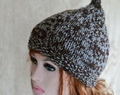 Pixie Hat Knitted Hat Elf Chunky Winter Hat Grey and Brown