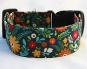 Country Floral Adjustable Dog- Pet Collar- Pet Supplies Dog Collar- Large Breed Dog- 5/8- 1 inch 1.5 -2 inch width