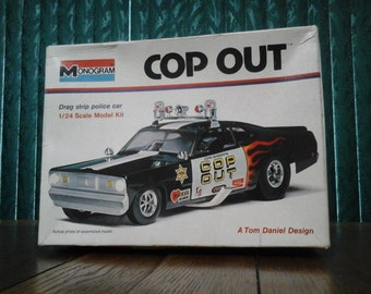 "Plastic Model Kit Monogram's ""Cop Out"" Plymouth Duster Funny Car Unassembled Rare Vintage 1973"