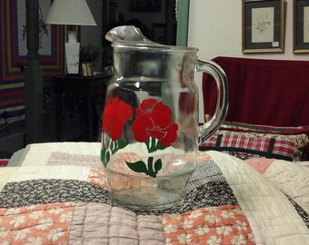 Retro 60's Glass Pitcher with ice lip