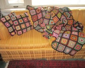 Vintage 1940s Fabulous Heavy Black Wool 76x55 Granny Squares Colorful Afghan with Two Matching Pillows