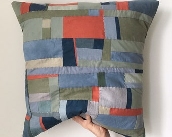 """24"""" x 24"""" Large Blue Olive Burnt Red Natural Cotton Linen Anonymous Agent Pillow with Down Insert"""