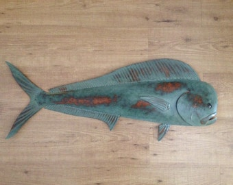 Mahi Mahi 36in Metal Fish Wall sculpture Beach Tropical  Coastal Art