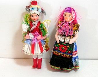 Hungarian Folk Dolls, Two Souvenir Dolls, Hungary