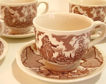 Alfred Meakin Brown Fair Winds Cups and Saucers, Set of Four
