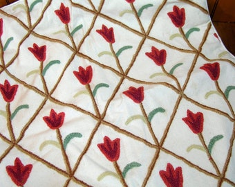 Vintage Crewel Embroidered Floral Pillow Cover