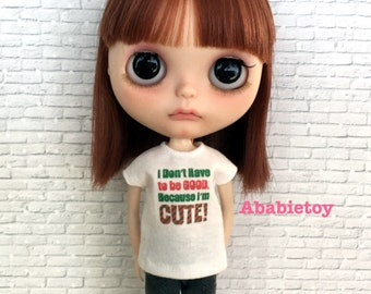 White Cotton Jersey T-Shirt for Blythe - Because I'm Cute