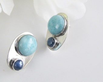 Blue Stone Studs Larimar and Kyanite on Sterling Ovals