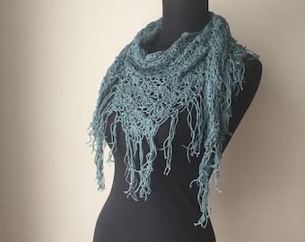 Boho Fringed A Bit of Lace Scarf Shawl in Wedgewood Blue Cotton Hemp Modal Blend Yarn Ready to Ship
