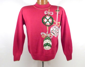 Ugly Christmas Sweater Vintage 1980s Ornaments Holiday Tacky Xmas Party size M