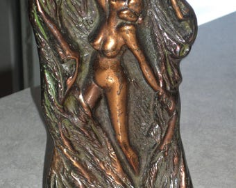 Art Deco bronze nude bookend door stopper signed FP 26 copper drapery flowing bark curtain