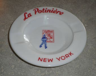 La Potiniere French Restaurant NYC New York vintage Ashtray dish bowl Opalex white milk glass Made in France