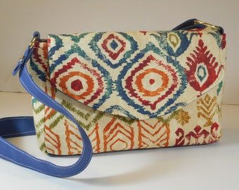 Purse Shoulder Bag Envelope-Style Flap Medium-Sized Bag Tribal Print Colorful Pockets