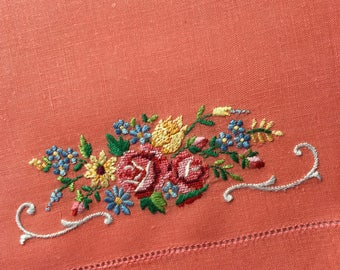 Vintage Guest Towel - Orange with a Hand Embroidered Swan