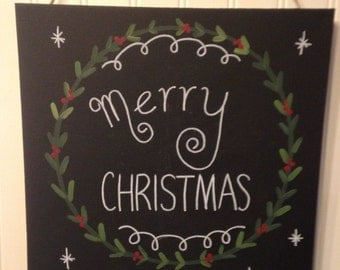 Merry Christmas Wreath Canvas painting Chalkboard Original wall art Home decor 11 x 14 Holly berry Holiday hostess gift present Chalk board