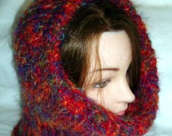 Knit cowl -  wool/nylon/acrylic - warm, soft and lightweight