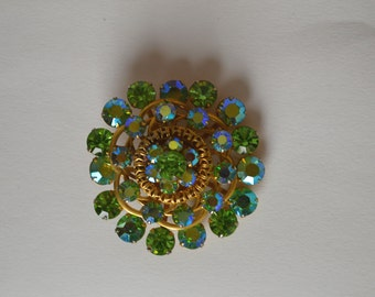 Green Brooch, Vintage Brooch, Rhinestone Brooch, 80s Brooch, Vintage Jewelry, Gift for Her, Free Shipping