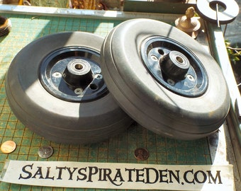 """Pair of Solid Tire / Wheels, with bearings, 7 1/2"""", industrial, kinetic sculpture, Maker supply, chair, cart wheels"""