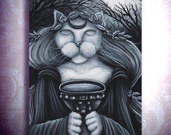 Druid Priestess Cat Art, Oracle, Seer Fantasy Art Print 5x7