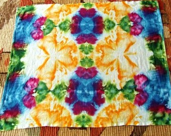 Tie Dye Tapestry - Ink Blotter Kaleidoscope Ice Dye - 38in x 30 in. - Ready to Ship