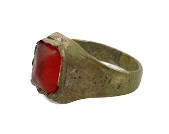Red Kuchi Ring, Vintage Ring, Heavy Patina, Afghan Ethnic, Gypsy Jewelry, Signet Ring, Size 9, Unisex Mens Mans, Boho Bohemian, Gypsy