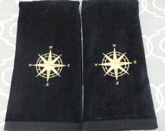 Nautical hand towels 2 embroidered compass rose design Great for boat, bar, bathroom, kitchen towels. You can choose thread colors.