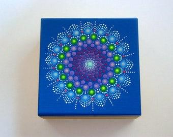 OOAK 3D original mandala art-hand painted wooden trinket stash treasure box-wood jewelry storage box-pointillism-dot art-for her-for him-Zen