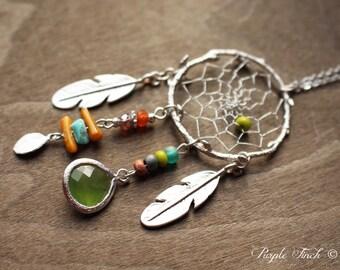 Couture Silver Birds Nest Dreamcatcher Necklace Dream Catcher Approx. 24