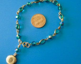 Vintage Green Chrystal and Oval Glass Bracelet w Locket Dangle
